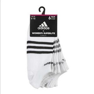 Adidas White Climalite Superlite 6Pk No Show Socks